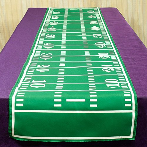 72' Green Polyester Table Runner With White Screen Printed Football Field Design