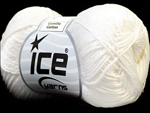 Lot of 6 Skeins Ice Yarns CAMILLA COTTON (100% Mercerized Cotton) Yarn White