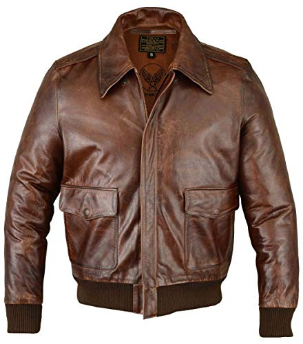 FIVESTAR LEATHER Men's Air Force A-2 Leather Flight Bomber Jacket - Brown (4XL)