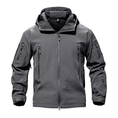 TACVASEN Men's Casual Lightweight Army Military Tactical Softshell Fleece Jacket Gray,US S
