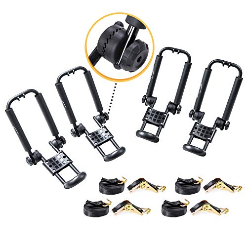AA-Racks 2 Pair J-Bar Rack Roof Top Mount with 16 Ft Ratchet Lashing Straps, Folding Carrier for Your Canoe, SUP and Kayaks on SUV Car Truck