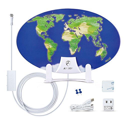Outdoor TV Antenna for Multiple TVs, ANTOP UFO Amplified Rooftop/Attic/RV/Marine HDTV Antenna 65 Miles Omni Directional Extremely High Reception with 33ft Coaxial Cable and Signal Splitter for 2 TVs