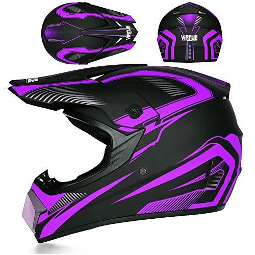 SHOPTOP Motocross Helmet for Men, Black and Purple, Motorbike Cross Helmet Kids Full Face MTB Helmet Motorcycle Crash Helmet for Downhill Dirt Bike MX Quad Bike ATV Sports,M