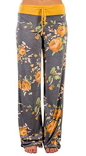 AMiERY Pajamas for Women Women's High Waist Casual Floral Print Drawstring Wide Leg Palazzo Pants Lounge Pajama Pants (Tag L (US 8), Yellow)