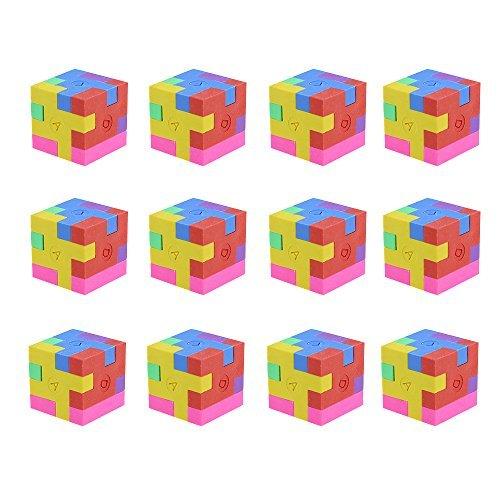 DLOnline 12PCS Mini 3D Shape Puzzle Pencil Erasers for Student Reward,School Supplies,Party Favors Games Favor Toys,Mini Erasers,Puzzle Eraser,Pencil Erasers,Puzzle Games,Mini Puzzles Party Favor