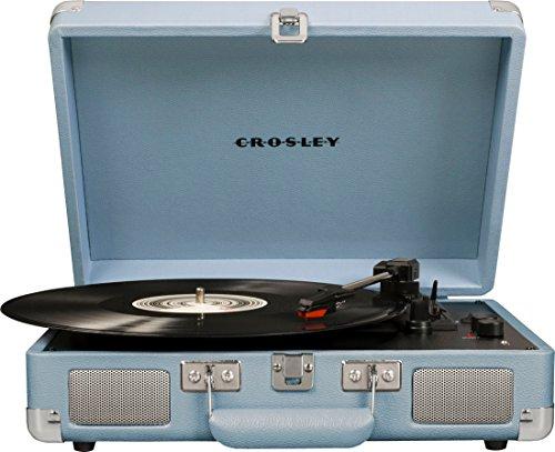 Crosley Cruiser Deluxe Vintage 3-Speed Bluetooth Suitcase Turntable, Tourmaline (CR8005D-TN)