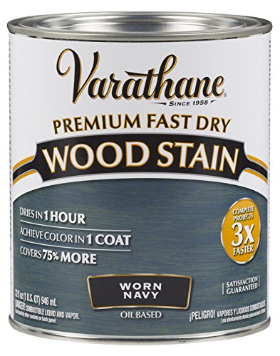 Varathane 297428 Premium Fast Dry Wood Stain, 32 oz, Worn Navy