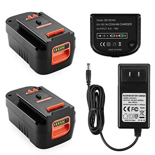 Energup 2Pack 5.0Ah Lithium Replacement for Black & Decker 18V Battery HPB18 244760-00 + 18V Multi-Volt Black Decker Battery Charger for 90556254-01 Black&Decker 9.6V-18V NiCad & NiMh Battery