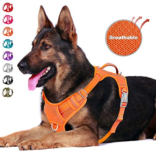 BARKBAY No Pull Dog Harness Front Clip Heavy Duty Reflective Easy Control Handle for Large Dog Walking with ID tag Pocket(Orange,XL)