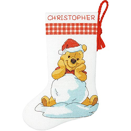 Dimensions Winnie the Pooh Christmas Stocking Counted Cross Stitch Kit for Beginners, 14 Count White Aida Cloth, 10''L