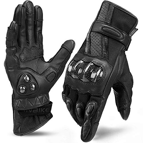 INBIKE Leather Motorcycle Gloves with Carbon Fiber Hard Knuckle Touch Screen for Women All Black Large