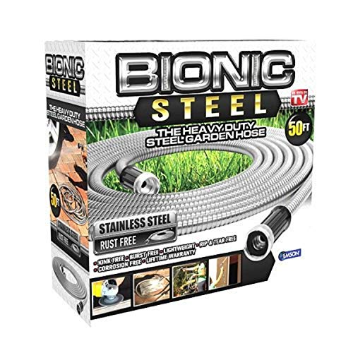 Bionic Steel 50 Foot Garden Hose 304 Stainless Steel Metal Water Hose – Super Tough & Flexible, Lightweight, Crush Resistant Aluminum Fittings, Kink & Tangle Free, Rust Proof, Easy to Use & Store