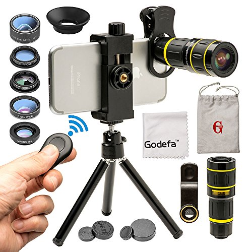 Godefa Cell Phone Camera Lens with Tripod+ Shutter Remote,6 in 1 18x Telephoto Zoom Lens/Wide Angle/Macro/Fisheye/Kaleidoscope/CPL, Clip-On lense Compatible for iPhone X 8 7 6s Plus, Samsung and More