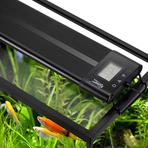 Hygger Auto On Off LED Aquarium Light Extendable 48-55 Inches 7 Colors Sunrise Sunset Full Spectrum Light Fixture for Freshwater Planted Tank Build in Timer