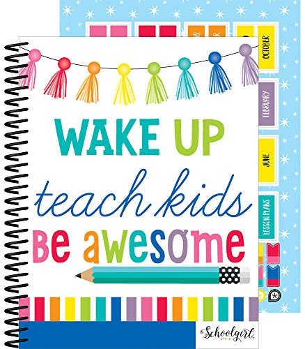 Schoolgirl Style Academic Teacher Planner - Undated Weekly/Monthly Plan Book, Hello Sunshine Lesson Planner and Organizer for Classroom or Homeschool (8.4' x 10.9')