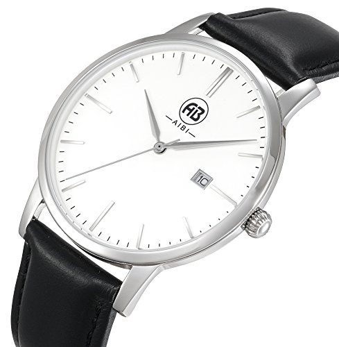 AIBI Men's Timepiece Analog Quartz Black Leather Strap Waterproof Watches 40mm Case with Date