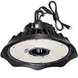 150W UFO LED High Bay Light Fixture, 19500lm 1-10V Dimmable 5000K 5' Cable with US Plug DLC Complied [250W/400W MH/HPS Equiv.] Commercial Warehouse/Workshop/Wet Location Area Light
