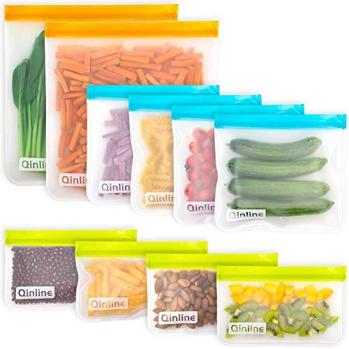 Reusable Storage Bags - 10 Pack BPA FREE Freezer Bags(2 Reusable Gallon Bags + 4 Leakproof Reusable Sandwich Bags + 4 THICK Reusable Snack Bags) Lunch Bags for Food Marinate Meat Fruit Cereal
