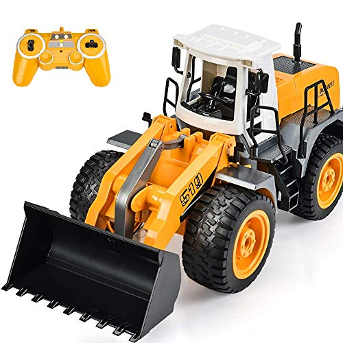 DOUBLE E RC Front Loader Bulldozer Remote Control Truck 8 Channel Construction Toys 2.4Ghz Radio Control with Simulated Lights and Sounds