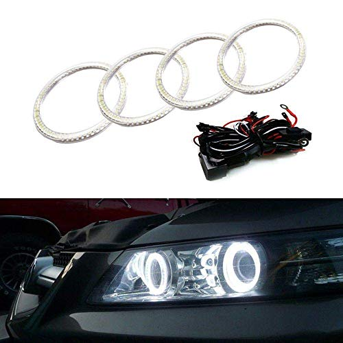 iJDMTOY 7000K Xenon White LED Angel Eye Halo Rings Kit Compatible With 2007 2008 Acura TL or TL Type-S (Retrofit Required)