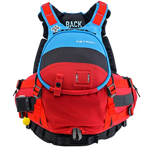 Astral, GreenJacket Life Jacket PFD for Whitewater Rescue, Sea, and Stand Up Paddle Boarding, Blue Black Red, L/XL