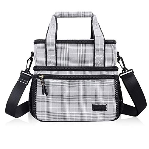 FYY Insulated Lunch Bag Large Capacity Lunch Box Fabric Double Deck Cooler with Handle and Shoulder Strap for Adults/Kids/School/Office/Picnic Black