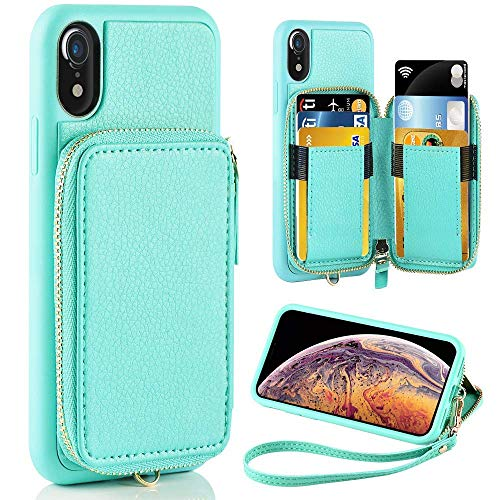 iPhone XR Case, ZVE iPhone XR Wallet Case with Credit Card Holder Slot Shockproof Protective Leather Wallet Zipper Pocket Purse Handbag Wrist Strap Case for Apple iPhone XR 6.1' (2018) Blue