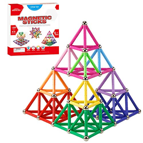 MONILON 160 Pcs Magnet Building Sticks Kids Toys, Lengthen Magnetic Construction Building Blocks Set 3D Brain Training Learning Educational DIY STEM Toys