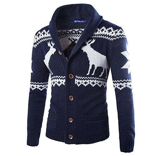Mens Winter Christmas Sweater Cardigan Xmas Knitwear Coat Jacket Sweatshirt Navy