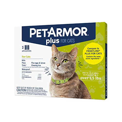 PETARMOR Plus Flea & Tick Prevention for Cats with Fipronil (Over 1.5 lb), Waterproof & Fast-Acting Topical Cat Flea Treatment, 3 Month Supply (05309)