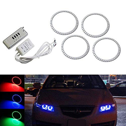 iJDMTOY (4) 7-Color RGB LED Angel Eye Halo Rings w/Wireless Remote Compatible With 2007-2008 Acura TL Projector Headlight Retrofit