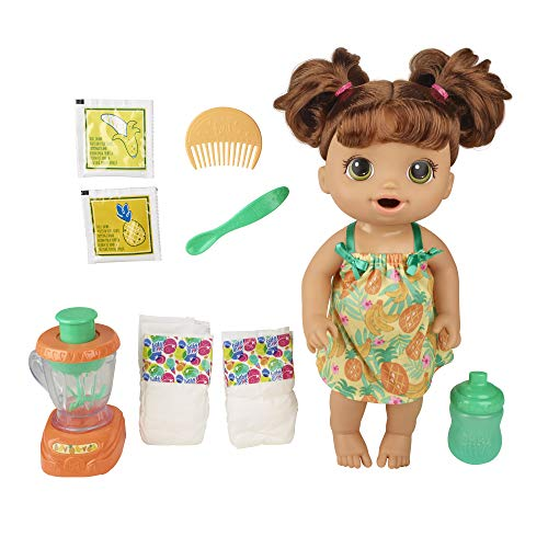 Baby Alive Magical Mixer Baby Doll Tropical Treat with Blender Accessories, Drinks, Wets, Eats, Brown Hair Toy for Kids Ages 3 and Up