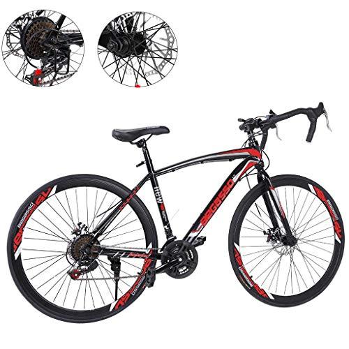 26 Inch Bike Aluminum Full Suspension Road Bikes Mountain Bike Dual Disc Brake, 21 Speed Bicycle, 700c for Men and Women (Black 2)