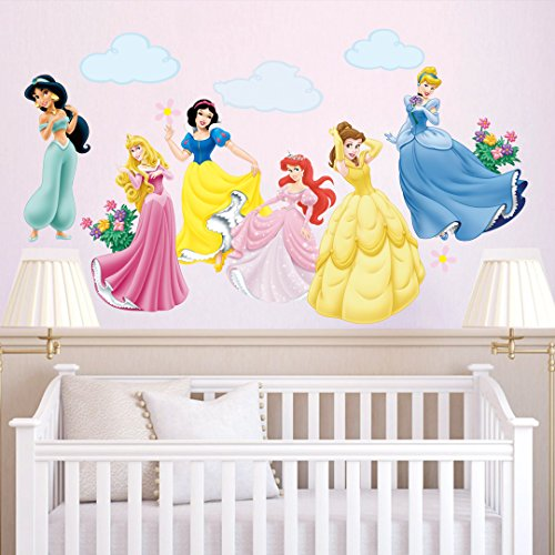 decalmile Princess Wall Stickers Murals Removable Vinyl Girls Room Wall Decals Nursery Baby Bedroom Wall Decor (6 Different Theme Princess)