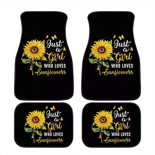 JoyLamoria Just A Girl Who Loves Sunflower Print Front & Rear Floor Mats for Car Truck SUV & Van, All Weather Car Foot Mats 4-Piece Set for Women Lady