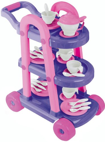 American Plastic Toy My Very Own 26 Piece Tea Cart Set