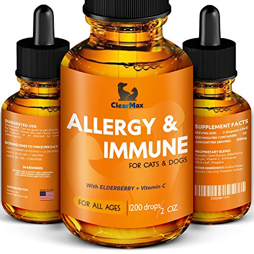 Clearmax Allergy Immunity for Dogs - Dog Itch Relief - Natural Supplement for Cat Allergy & Dog Allergy Relief - Calming Natural Support for Dogs & Cats (2 Oz)