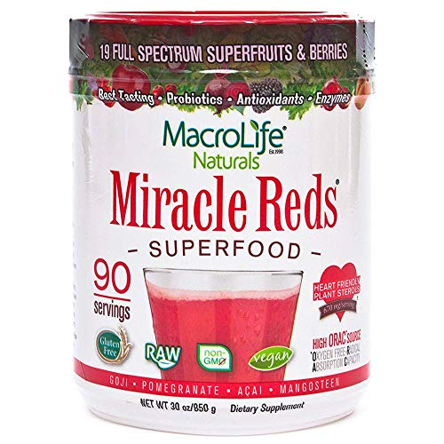 MacroLife Naturals Miracle Reds Superfood – Elderberry Plus 19 Non-GMO Superfruits & Berries - Vitamin C - 30oz - 90 Servings