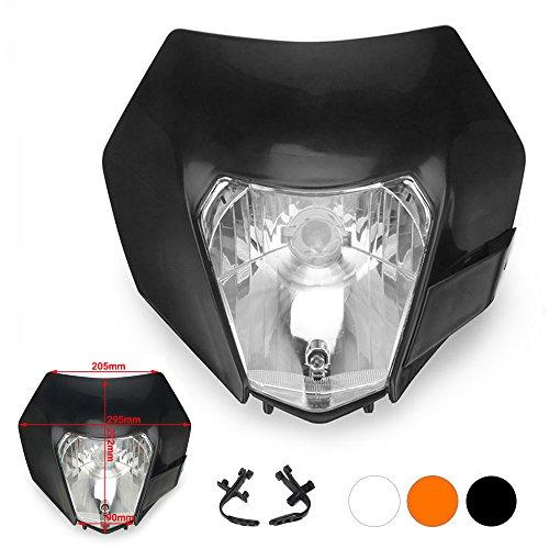 JFG RACING Black Universal Headlight Head Lamp Light Fairing Mask Day Running Light For ATV Scooters Dirt Pit Bike Enduro
