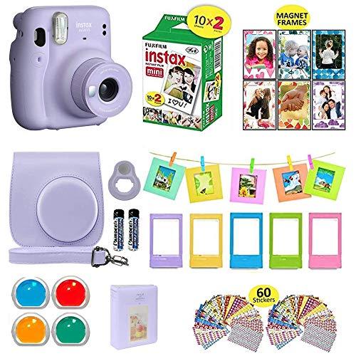 Fujifilm Instax Mini 11 Instant Camera + Shutter Compatible Carrying Case + Fuji Film Value Pack (20 Sheets) + Shutter Accessories Bundle, Color Filters, Photo Album, Assorted Frames (Lilac Purple,)