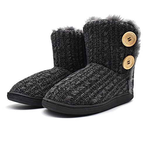 ONCAI Fluffy Faux Fur Slipper Boots Women Soft Cozy Memory Foam Midcalf Booties Indoor House Pull on Shoes Black
