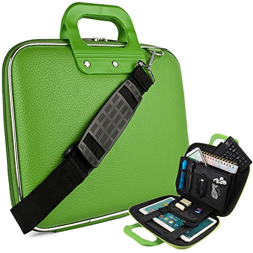 eBigValue Vegan Leather Martin Cube Carrying Green Shoulder Bag with Handles for Acer Aspire, R, One, Chromebook, 11.6 inch 12.5 inch Laptops