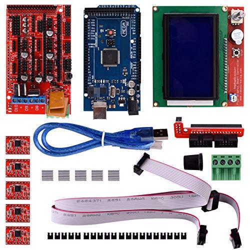 3D Printer Controller Kit RepRap, RAMPS 1.4 + 2560 Board + 5pcs A4988 Stepper Motor Driver with Heatsink + LCD 12864 Graphic Smart Display
