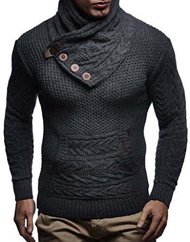 Leif Nelson Men's Knitted Pullover | Long-sleeved slim fit Knitwear | Winter sweatshirt with shawl collar for Men