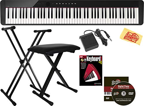 Casio Privia PX-160 Digital Piano - Black Bundle with Adjustable Stand, Bench, Sustain Pedal, Instructional Book, Austin Bazaar Instructional DVD, and Polishing Cloth