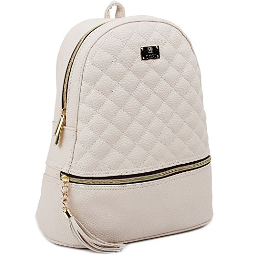 Copi Women's Simple Design Fashion Quilted Casual Backpacks Ivory