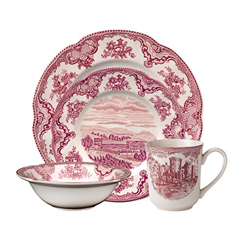 Johnson Brothers Old Britain Castle Dinnerware Set, 4 Piece, pink
