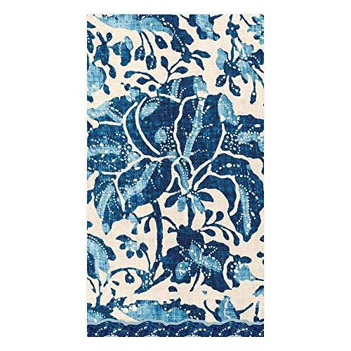 Caspari Plantation Print Paper Guest Towel Napkins in Indigo, 15 Per Package