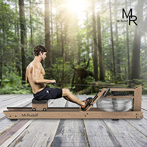 Mr Rudolf Water Rowing Machine with Bluetooth Monitor, Oak Wood Water Resistance Rower Training Exercise Equipment for Home Use Indoor Gyms Sports Fitness