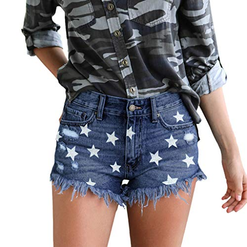 4th of July Patriotic Denim Shorts Womens Hot Pants Summer Star Print High Waist Ripped Tassel Casual Jeans with Pocket (Dark Blue, XL)